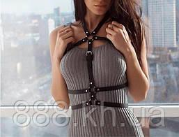 Женская портупея чёрная с переплетениями, кожаная портупея на блузу, платье