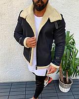 Куртка мужская чёрная на молнии  зимняя на овчине Премиум класса стильная с меховым белым воротником Турция