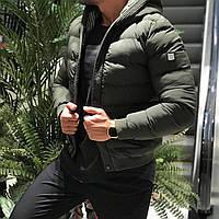 Куртка мужская демисезонная зимняя осенняя с капюшоном стильная хаки зелёная  на синтепоне Турция