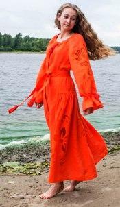 """Сукня вишита """"Диво-квітка"""" максі помаранчева"""