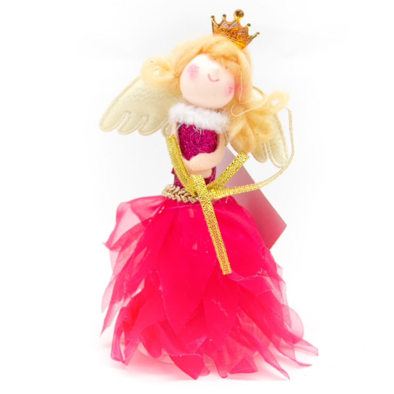 Елочная игрушка - ангелочек, 14см, в красном платье (220747-1)