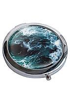 Зеркальце косметическое DM 01 Морские волны синее - 176858