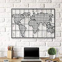 Картина из дерева Board World Map 60x100 см BM1001