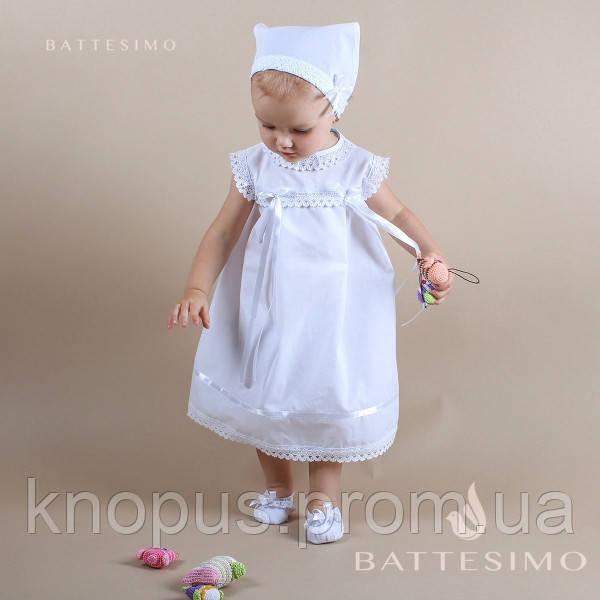 Комплект платье с косынкой для крещения, белое/молочное ТМ БАТТЕСИМО, возраст 2-5 лет