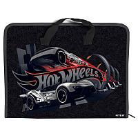HW19-202 Папка-портфель пластик на молнии А4 KITE 2019 Hot Wheels 202