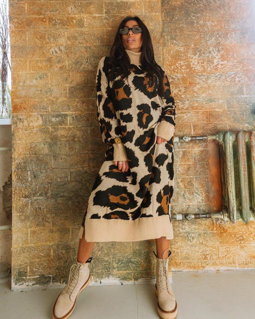 Женское длинное платье с леопардовым принтом, в расцветках