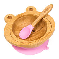 Набор детской посуды из бамбука на присоске Бабака, 250 мл. Розовая (140114)