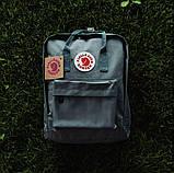 Стильный рюкзак, сумка Fjallraven Kanken Classic, канкен класик. Серый / 7108 Vsem, фото 3