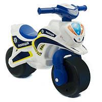 """Беговел велобег толокар Мотоцикл байк Полицейский для детей от 1 до 5 лет цвет-бело-голубой """"ФЛАМИНГО"""""""