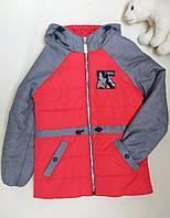Демисезонная детская куртка для девочки Кира красная  р. 34, 38