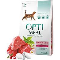 Сухой корм Optimeal (Оптимил) для кошек (ТЕЛЯТИНА) 4кг