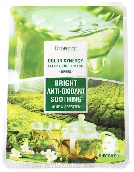 Тканинна маска для обличчя Deoproce Color Synergy Effect Sheet Mask Зелена (алое і зелений чай) 20 г