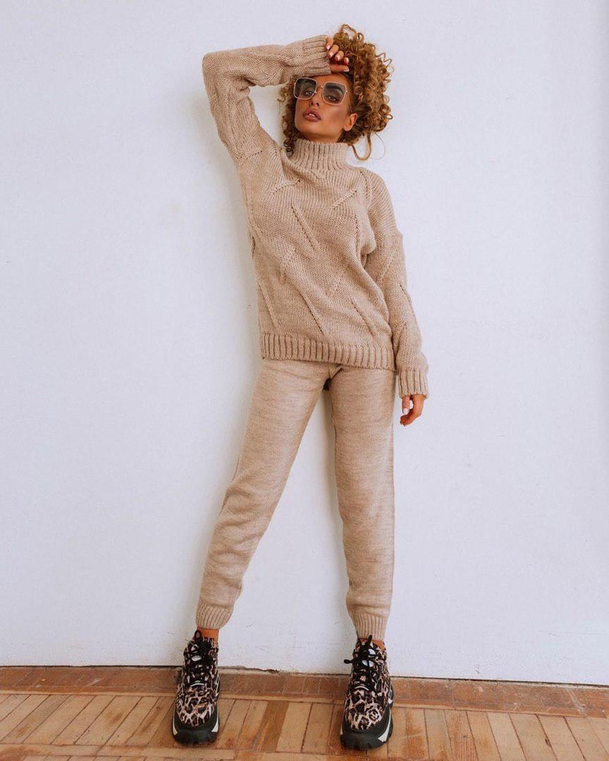 Модный женский теплый вязаный костюм, свитер и штаны, в расцветках