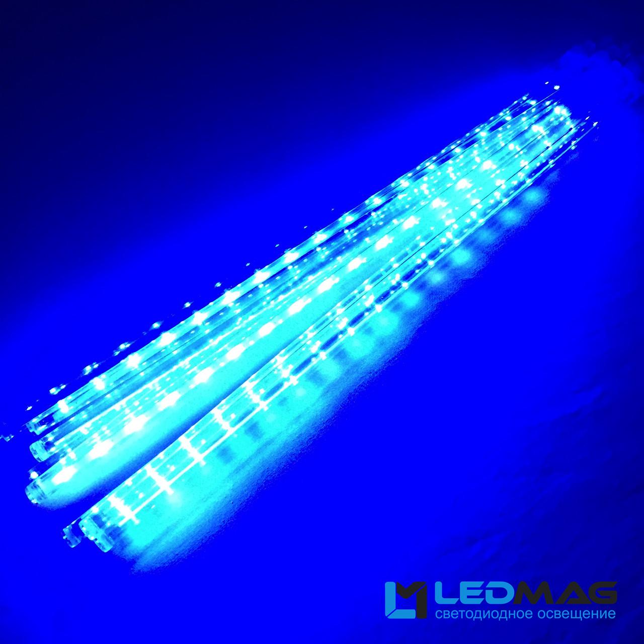 Светодиодная гирлянда Падающая капля (тающая сосулька), 8шт*50см, 3м 288 LED, ПВХ Синий