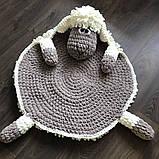 Мягкий вязаный детский плюшевый коврик Баранчик Шон ручной работы., фото 6