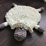 Мягкий вязаный детский плюшевый коврик Баранчик Шон ручной работы., фото 5