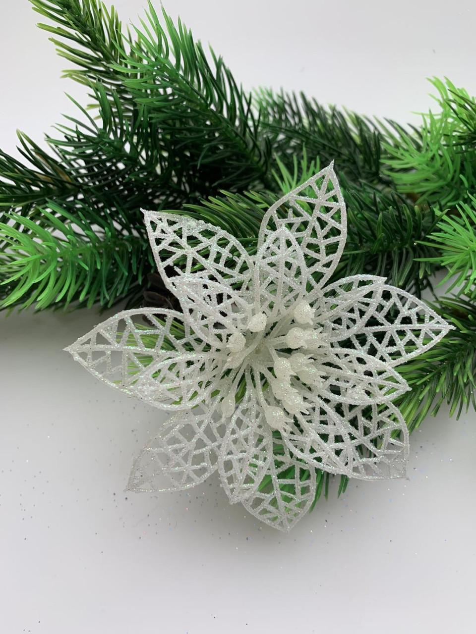 Новогоднее украшение. Пуансетия белая( 9см)
