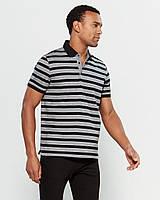 Мужская оригинальная серая хлопковая футболка-поло в полоску Calvin Klein (Размер - L)