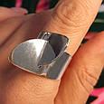 Стильное серебряное кольцо без камней - Родированное серебряное женское кольцо, фото 9