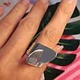 Стильное серебряное кольцо без камней - Родированное серебряное женское кольцо, фото 3
