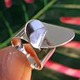 Стильное серебряное кольцо без камней - Родированное серебряное женское кольцо, фото 8