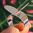Стильное серебряное кольцо без камней - Родированное серебряное женское кольцо, фото 6