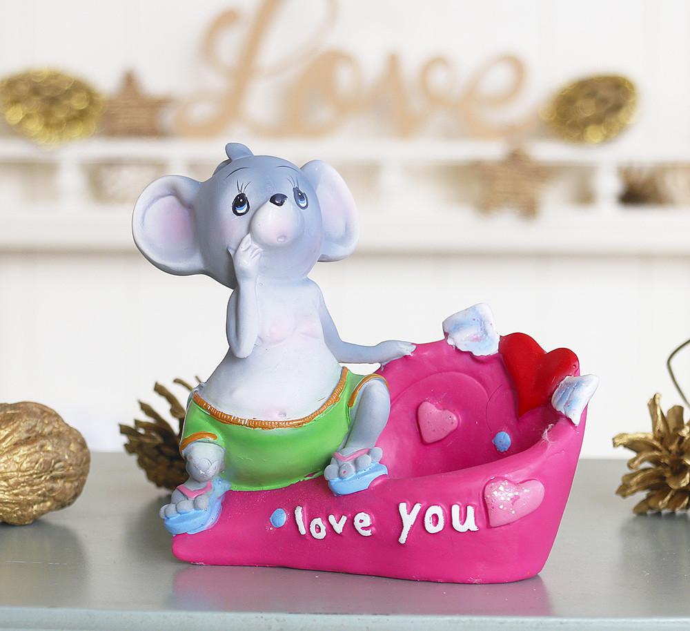 Статуэтка для мелочей мышка I love you 026 A 080-81B