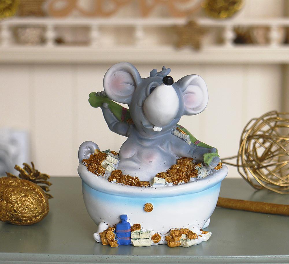 Копилка мышка в ванной 12*14*9 см 026 A 026C