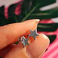 Серебряные серьги Звезды - Серьги гвоздики Звездочки родированное серебро, фото 4