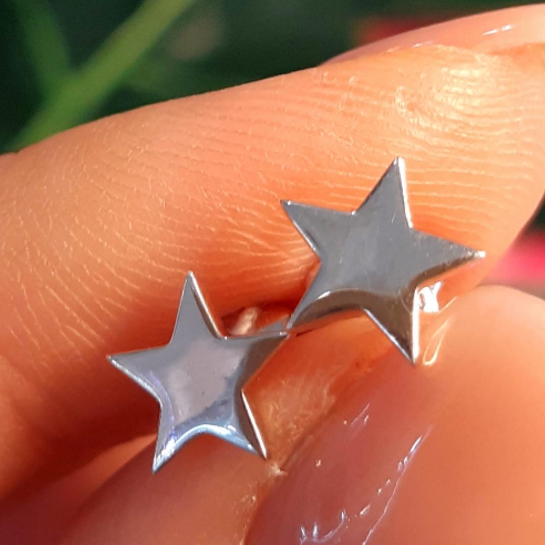 Серебряные серьги Звезды - Серьги гвоздики Звездочки родированное серебро