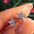 Серебряные серьги Звезды - Серьги гвоздики Звездочки родированное серебро, фото 3