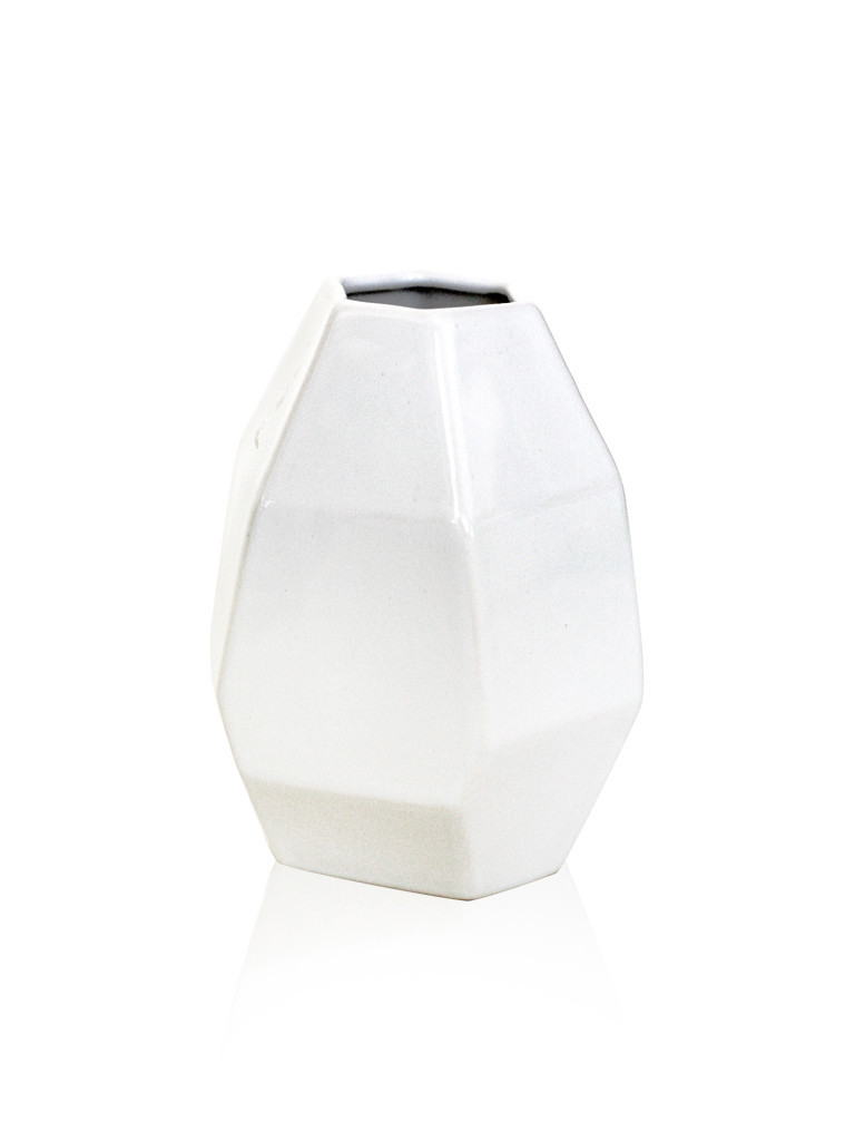 Ваза полигональная Грани белая керамика 9*9*12 см 2500-12