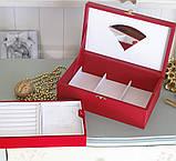 Шкатулка для ювелирных украшений   22*13,6*7,5 603426 красная, фото 5