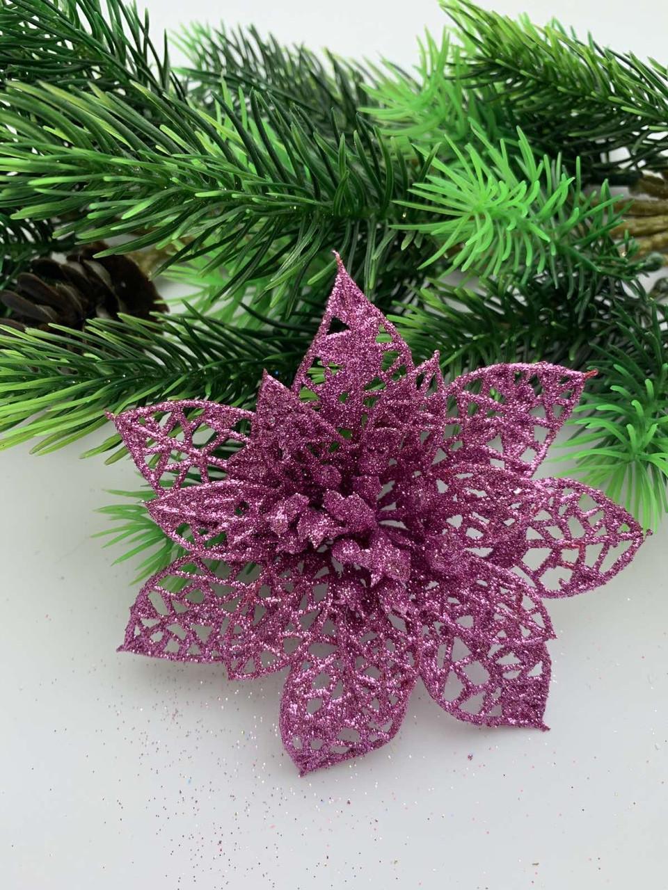 Новогоднее украшение. Пуансетия розовая.