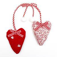 Бело-красное тканевое украшение, Сердце, 20 см (430369)