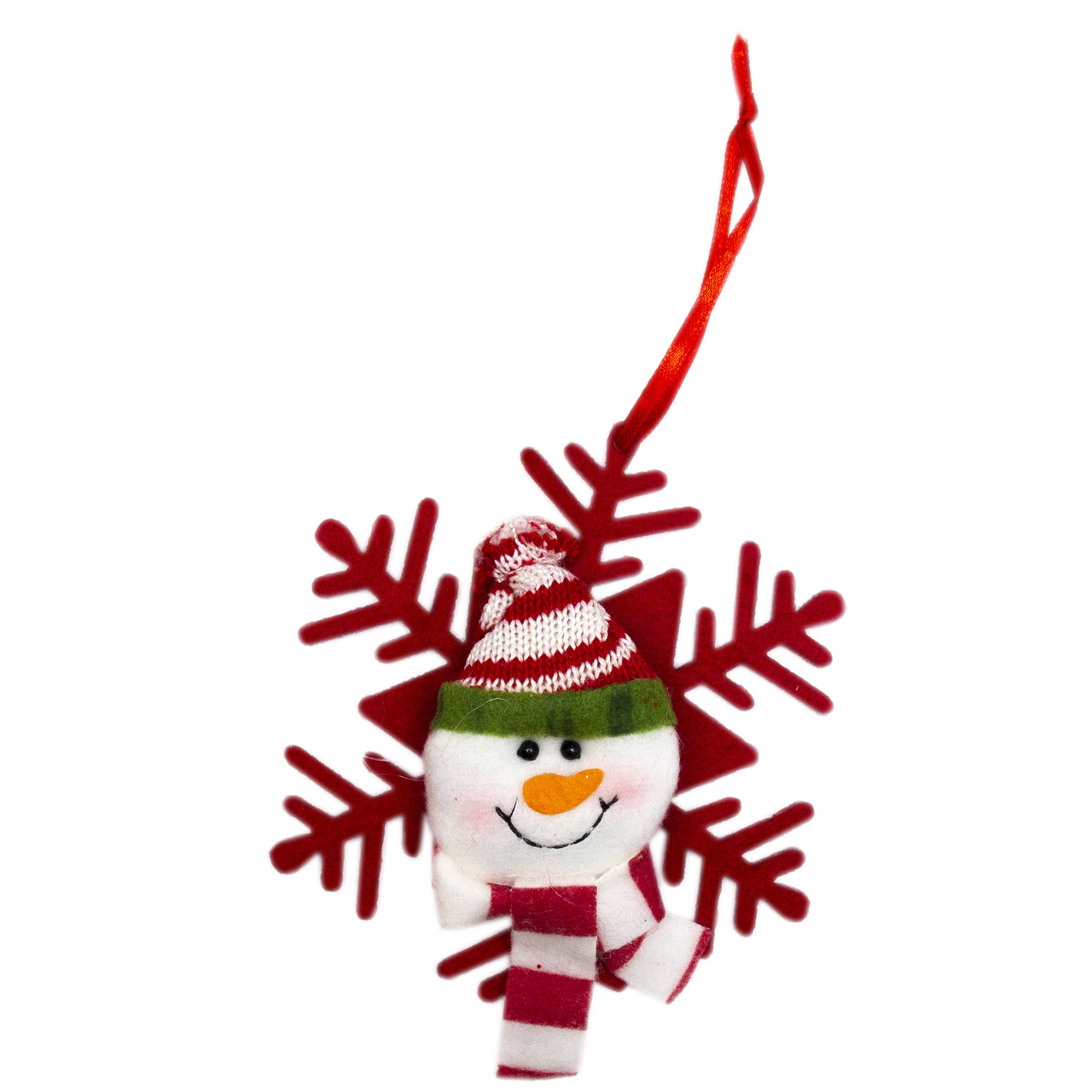 Елочная игрушка из ткани, Снежинки - Снеговик 12 см. (430451-2)