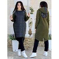 Женское пальто размеры 48-54 цвет хаки
