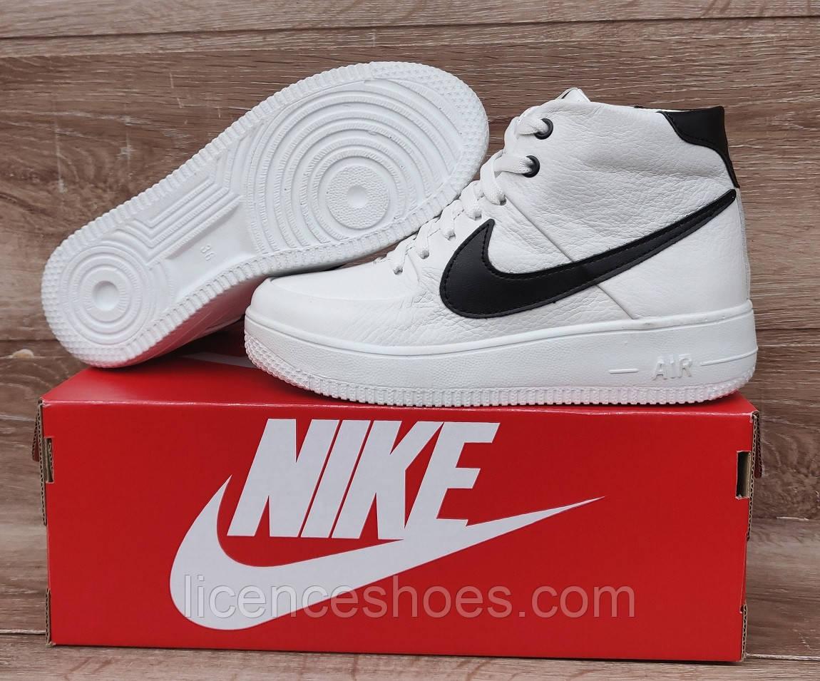 Подростковые, детские зимние ботинки кроссовки Nike Air Force White/Black