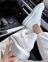 Женские кроссовки Alexander McQueen Oversized Leather White Silver кожаные Александр Маккуин белые, фото 3
