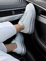 Женские кроссовки Alexander McQueen Oversized Leather White Silver кожаные Александр Маккуин белые, фото 2