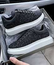 Женские кроссовки Alexander McQueen Oversized Black Glitter кожаные Александр Маккуин черные, фото 2