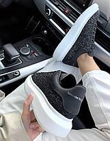 Женские кроссовки Alexander McQueen Oversized Black Glitter кожаные Александр Маккуин черные, фото 3