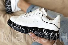 Женские кроссовки Alexander McQueen Oversized Leather White кожаные Александр Маккуин белые, фото 3