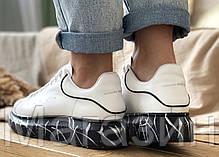 Женские кроссовки Alexander McQueen Oversized Leather White кожаные Александр Маккуин белые, фото 2