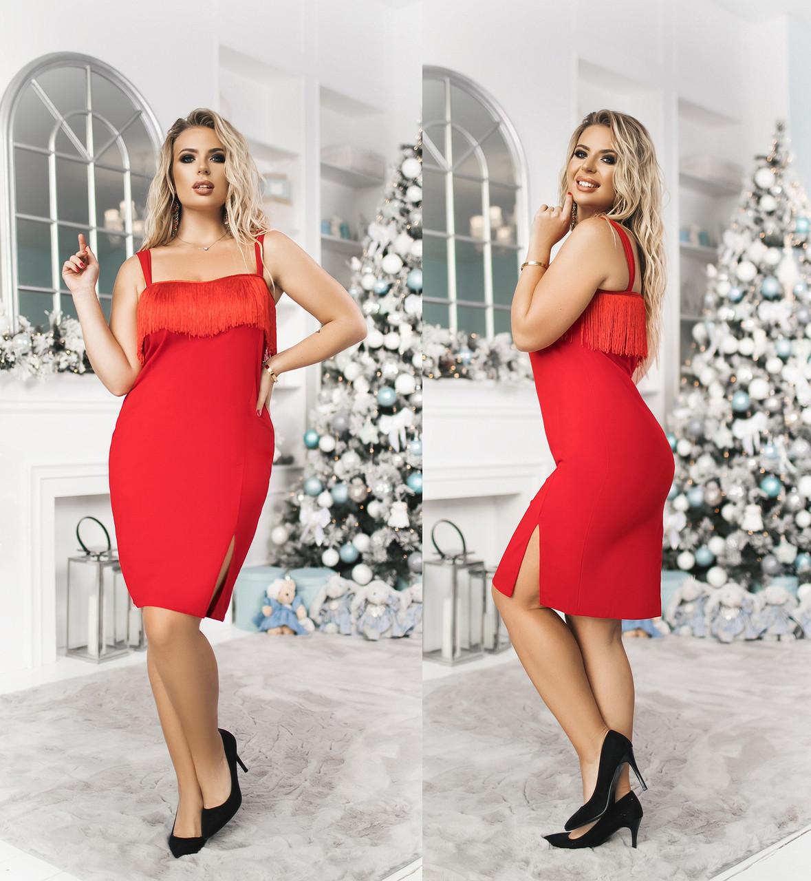 Платье БАТАЛ  в расцветках бахрома 703045