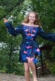 """Сукня вишита """"Калина"""" міні, темносиній колір, льон, фото 1"""