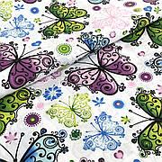 """Польская хлопковая ткань """"Бабочки разноцветные большие на белом"""""""