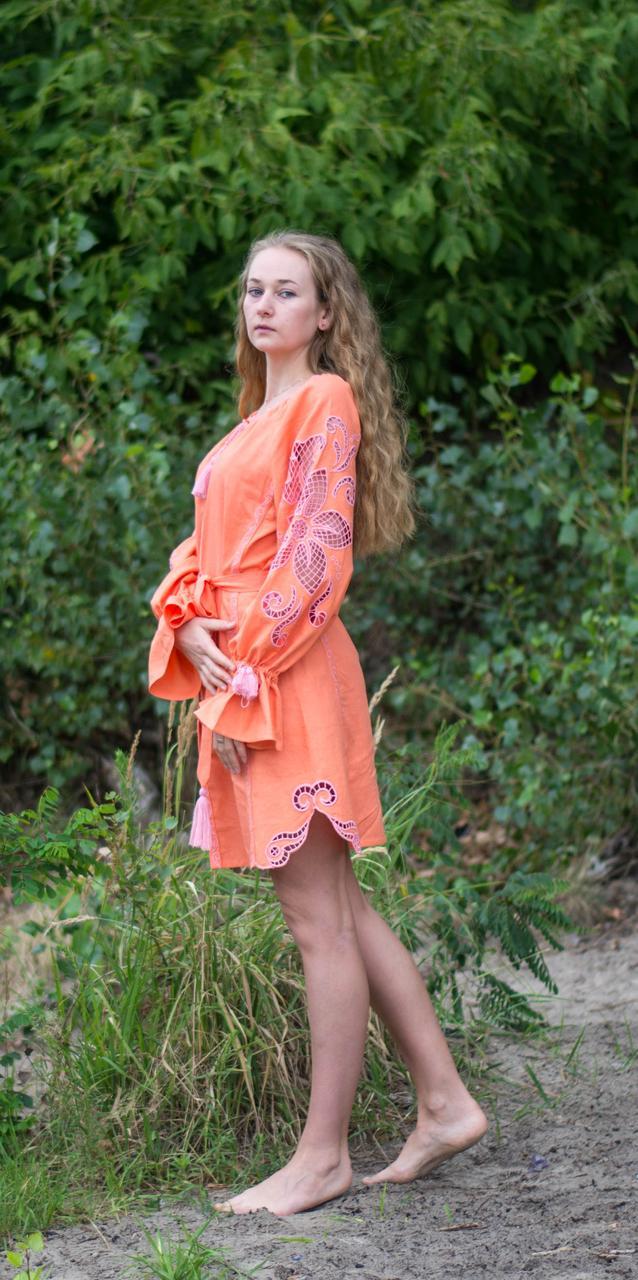 """Сукня жіноча """"Диво-квітка міні"""" , персиковий колір"""