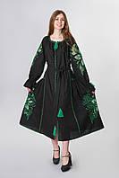 """Сукня вишита """"Диво-квітка максі"""" з зеленою вишивкою, фото 1"""
