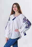 Блуза жіноча Диво-квітка, білий колір, блакитна вишивка, фото 1